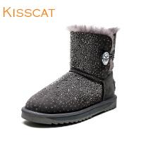 接吻猫2017秋冬新款皮毛一体水钻牛绒低跟保暖雪地靴女DA87788-54