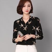 衬衫 女士V领印花拼接长袖衬衫2020年秋季新款韩版时尚女式修身女装雪纺衫