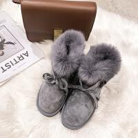 短筒雪地靴女冬2018新款潮皮毛一体加绒厚底兔毛学生韩版百搭棉鞋