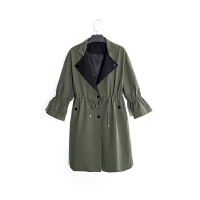 欧美秋季新款气质西装领腰抽带风衣长袖口袋中长款外套