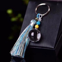天然水晶球摆件天然白水晶球紫水晶粉晶球钥匙扣腰挂包挂个性保平安钥匙挂件
