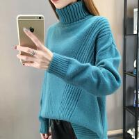 2018秋冬新款宽松高领套头毛衣女中长款长袖打底针织衫加厚潮