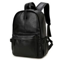 ?男包韩版潮书包中学生女PU皮男士双肩包 男背包休闲旅行包?
