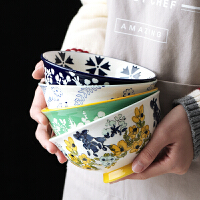 光一单个装花边碗单个吃饭小碗可爱萌家用学生日式餐具陶瓷个性创意泡面碗