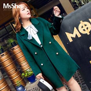 MsShe加大码女装2017新款冬装韩版双排扣毛呢大衣外套M1740695