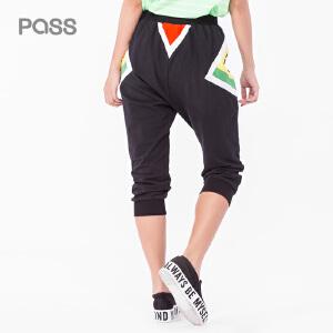 PASS夏装假两件黑色哈伦裤五分休闲裤百搭裤中裤女裤