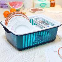 带盖多功能欧式沥水碗架/餐具收纳盒碗筷餐具收纳盒放碗碟架滴水碗盘置物架 蓝色