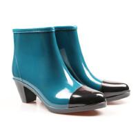 女士雨鞋短筒雨靴时尚学生雨靴拉链水鞋套鞋防滑高跟水靴
