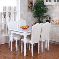 钢化玻璃欧式 餐桌椅组合现代简约 实木白色长方形饭桌田园小户型
