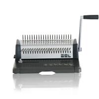 得力办公3873装订机 胶圈夹条多孔打孔机 梳式21孔文件标书打孔器