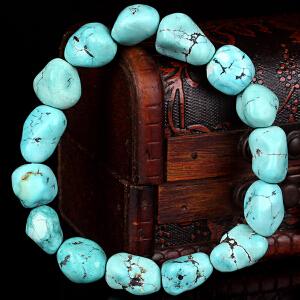 原矿高瓷高蓝绿松石随形手串 直径12mm 重量33.34g