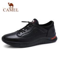 camel骆驼男鞋秋冬季新款休闲低帮皮鞋真皮撞色时尚潮流青年男生鞋