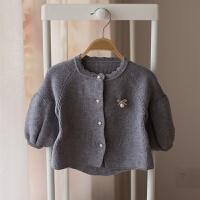 婴儿毛衣开衫新款春秋装宝宝针织衫新生儿百搭泡泡袖上衣女童外套 灰色 1718
