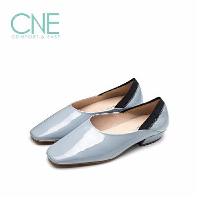 【顺丰包邮,大牌价:269】CNE2019春夏新款温柔鞋方头套脚简约漆皮奶奶鞋女单鞋AM08201 简约漆皮奶奶鞋女单鞋