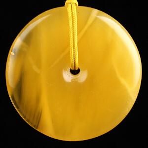 蜜蜡金包蜜平安扣吊坠 重量10.74g(含链)