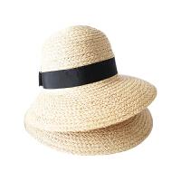 时尚拉菲草帽女夏小清新出游度假海边沙滩帽大沿遮阳帽防晒太阳帽春秋