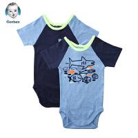 美国直邮 Gerber嘉宝婴儿连体包屁衣2件套 鲨鱼图案 包邮包税