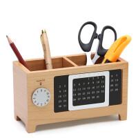 木质笔筒创意时尚办公用品多功能韩国可爱文具实木笔桶桌面收纳盒