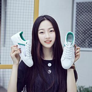 2018春夏季新款透气小白鞋厚底系带休闲鞋镂空蕾丝网鞋学生板鞋
