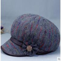 女士帽子中老年人妈妈鸭舌帽老人奶奶加厚保暖帽优雅时装帽