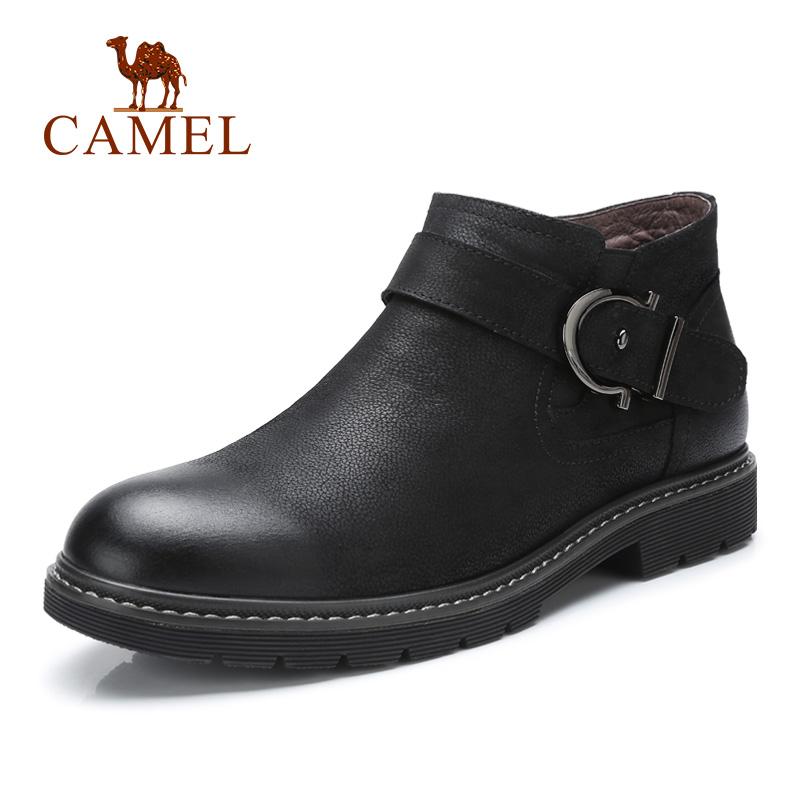 camel骆驼男鞋 秋季新品英伦风青年休闲牛皮靴防滑保暖潮流中帮鞋