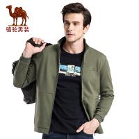 骆驼男装青年休闲外套 秋季宽松立领开衫长袖卫衣男外套