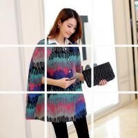 2018韩版春装新款女装宽松针织蝙蝠袖斗篷羊毛呢大衣外套披肩罩衫
