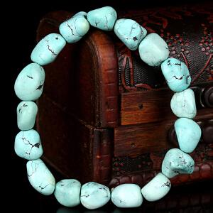 原矿高瓷高蓝绿松石随形手串 直径11mm 重量22.89g