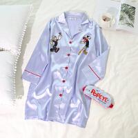 睡裙卡通印花衬衫领长袖冰丝软妹丝绸韩版可爱甜美睡衣女生夏秋季 -长袖 均码