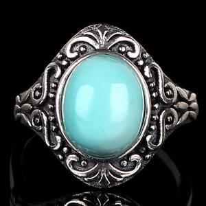 原矿高瓷高蓝绿松石戒指 重4.65g