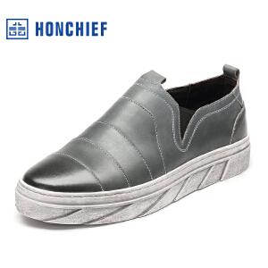 HONCHIEF 红蜻蜓旗下 秋季新款男士休闲鞋单鞋套脚真皮圆头板鞋