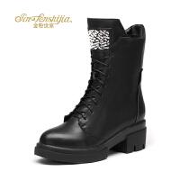 金粉世家 红蜻蜓旗下 冬季新款马丁靴女粗跟真皮方跟中筒短靴子