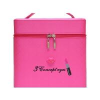 大容量化妆包可爱双层手提化妆箱大号护肤化妆品多层收纳盒小方包世帆家SN4771