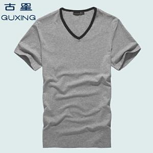 古星运动t恤男夏短袖v领男士薄款运动服t恤男装休闲T恤吸汗速干