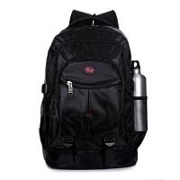 新款男士双肩包男女韩版潮高中学生书包休闲电脑包登山旅行包黑色 黑色 纯黑色