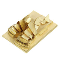 爱拼 全金属 DIY拼装模型 3D免胶立体拼图建筑 悉尼歌剧院 黄铜版