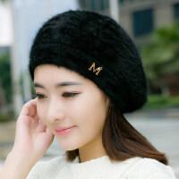 韩版女士甜美可爱画家帽 新款英伦毛线帽女兔毛帽贝雷帽 双层保暖帽子女