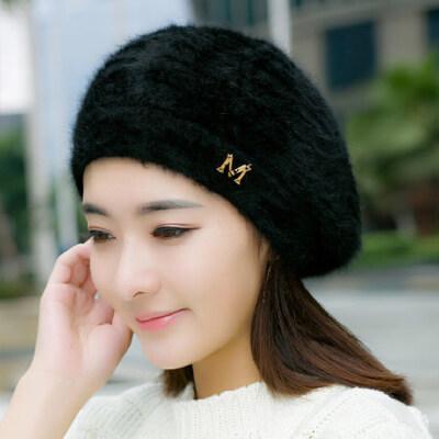 韩版女士甜美可爱画家帽 新款英伦毛线帽女兔毛帽贝雷帽 双层保暖帽子女 品质保证 售后无忧