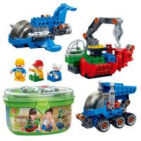 【当当自营】邦宝大颗粒益智拼装积木玩具拧拧梦工场卸斗车+货轮+太空战机三合一套装BB9706