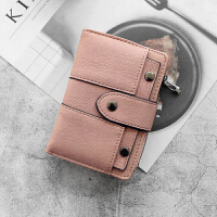 钱包女短款欧美2折零钱位纯色pu软面搭扣学生钱包