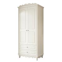 小户型衣橱白色田园小衣柜两门1M木质欧式实木衣柜经济型双门衣柜 荷花白 2门
