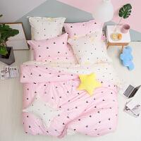 LOVO家纺 全棉纯棉斜纹四件套 北欧清新床单被套 1.2/1.5/1.8米床 星月童话
