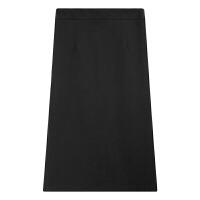 黑色开叉包臀半身裙女秋冬2018新款高腰显瘦一步裙中长裙 黑色