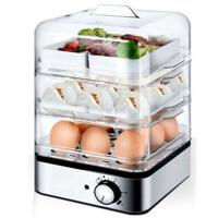 蒸蛋器电蒸笼蒸锅早餐机三层自动断电煮蛋器 浅灰色