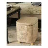 草编实木收纳凳储物凳子藤编换鞋凳沙发凳化妆凳可坐人坐箱