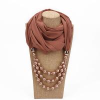 仿珍珠带项链的围巾女春秋季民族风吊坠饰品围脖旅游纪念演出围巾