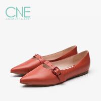 CNE2019年秋冬款晚晚鞋尖头一字带皮扣玛丽珍鞋女单鞋9M13101