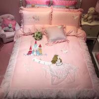 韩版公主风全棉刺绣花四件套棉粉色卡通儿童床上用品女孩三件套