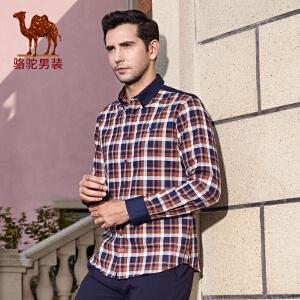 骆驼男装 秋季新款青年扣领尖领时尚纯棉格子长袖修身衬衫男