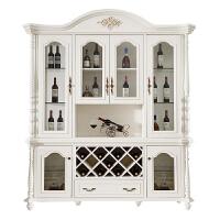 欧式酒柜美式实木餐边柜展示柜白色法式客厅餐厅四门现代酒柜 4门